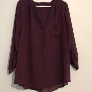 Maurice's Purple 3/4 Sleeve Top with Pocket
